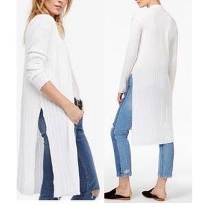 Free People Ribby Rib Long Cardigan Sweater White